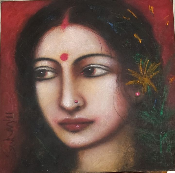 Radha, Mixed Media on Canvas Board - ONLINE ART GALLERY