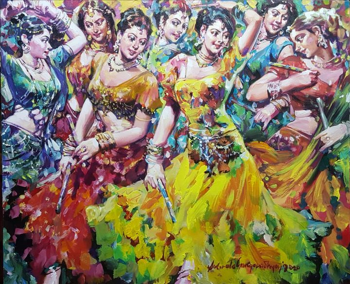 Dandia Raas, Acrylic on Canvas - ONLINE ART GALLERY
