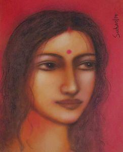 Radha, Mixed Media on Paper