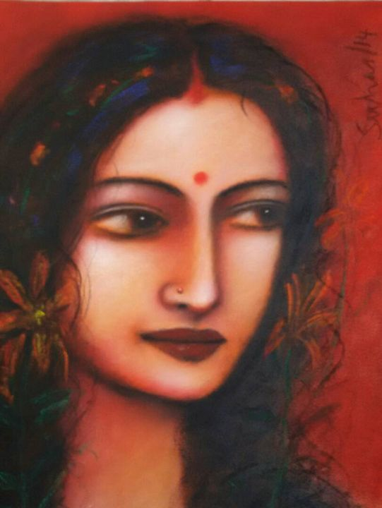Radha, Mixed Media on Canvas - ONLINE ART GALLERY