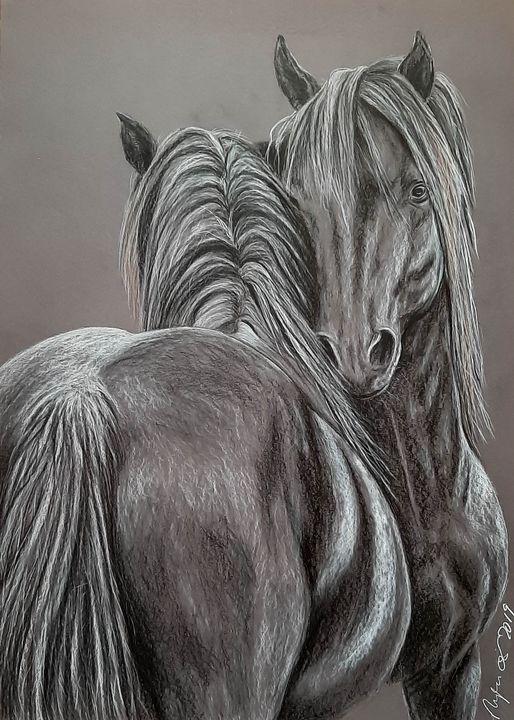 Horse love - Art by Mary