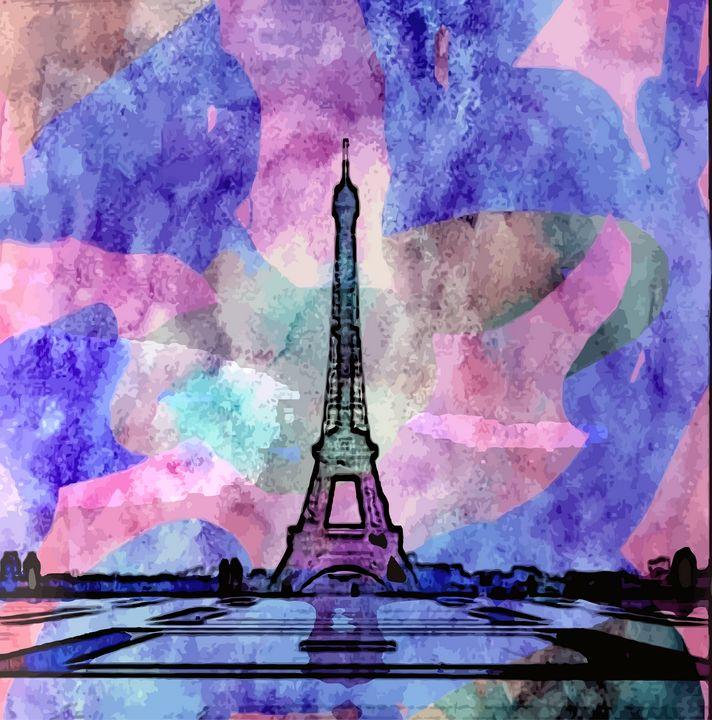 Eiffel Tower Water Colorish - Stewzart