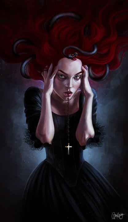 Red witch with black snake - MelazergArt