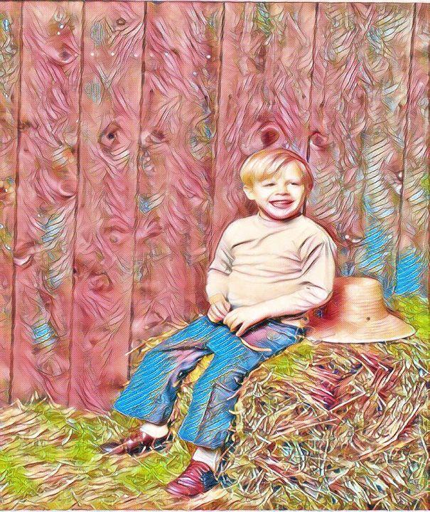 cute boy on hay - Fabulous Sammie