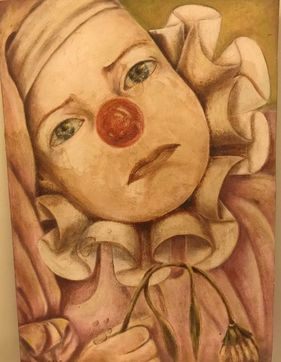 "Sad Clown, Oil on Board 12x16 3/4"" - Untitled Gallery"