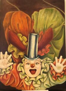 Happy clown #3, oil on Board 30x41""