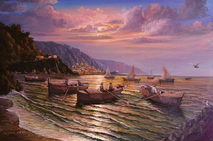 Amalfi Coast Fishermen - Piazza's Fine Art