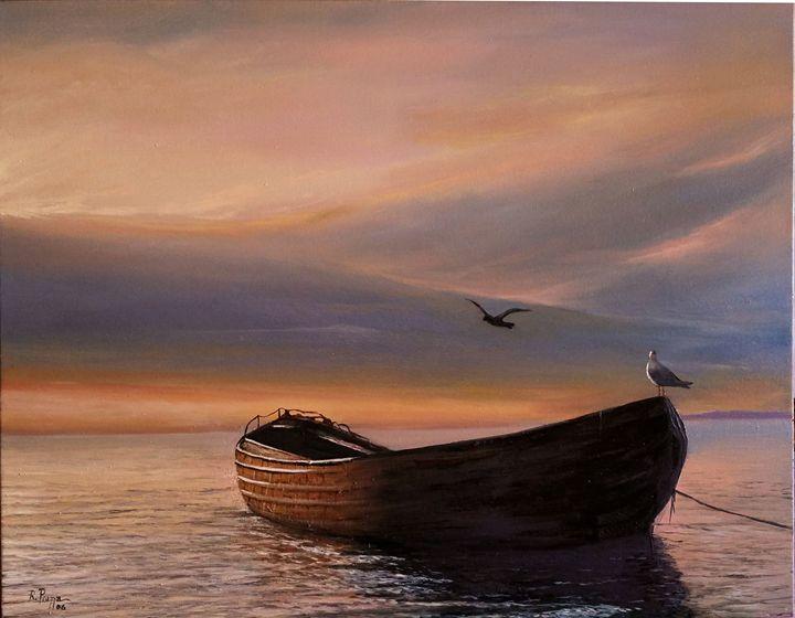 The Lone Boat (Original SOLD) - Piazza's Fine Art