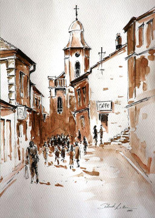 Street in Szentendre - Watercolor Shop
