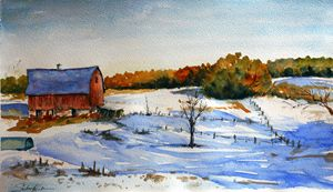 Snowy landscape with barn