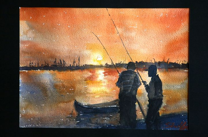 Late afternoon fishing in Greece - Watercolor Shop