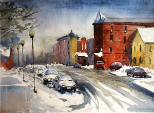 Snowy street sketch