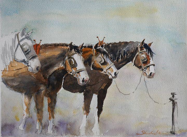 Cab Horses - Watercolor Shop