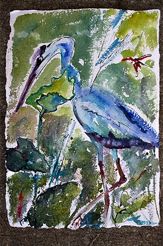 Blue Heron Stalking Watercolor - Ginette Art