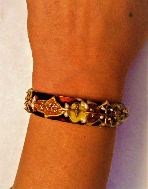 hand painted steel cuff bracelet - indianArtOnCanvas
