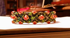 Roses and Leaves painted bracelet