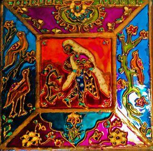 painted Indian mirror box vase - indianArtOnCanvas