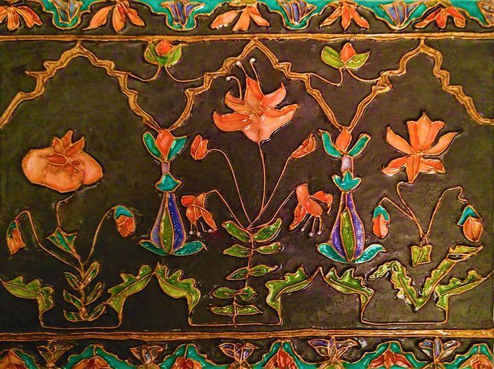 Mughal floral panel - indianArtOnCanvas