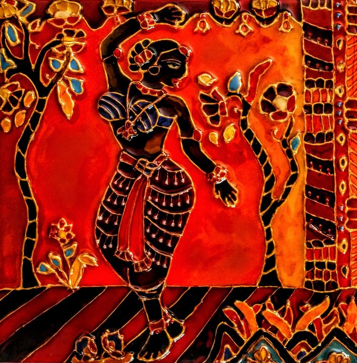 cloisonne style Indian dancer - indianArtOnCanvas