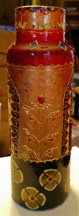 hand painted vase with Indian motifs - indianArtOnCanvas