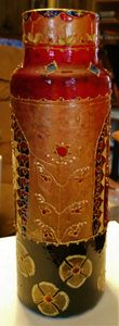 hand painted vase with Indian motifs