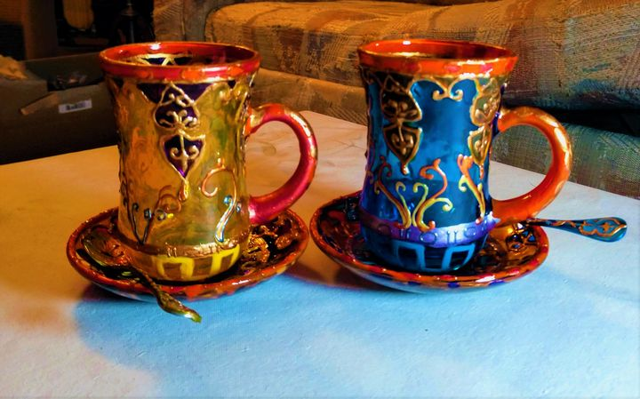 painted teacups,saucers,spoons,6 set - indianArtOnCanvas