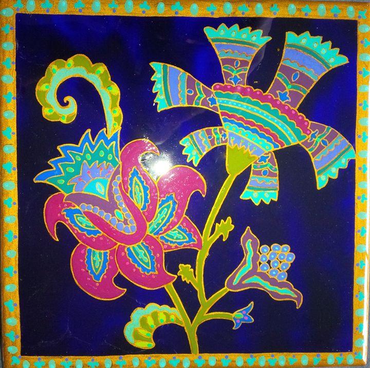 original painting 6x6 ceramic tile - indianArtOnCanvas
