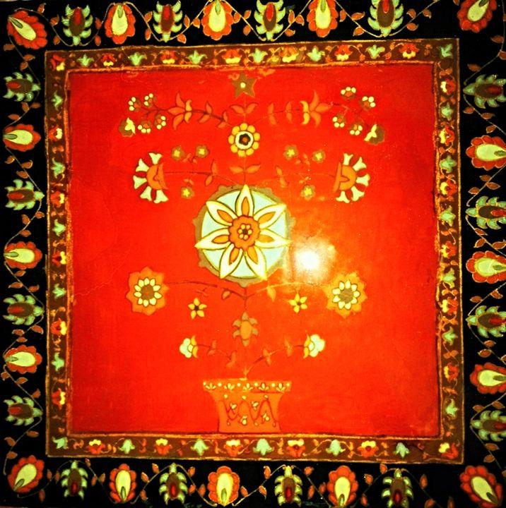 original painting 12x12 ceramic tile - indianArtOnCanvas