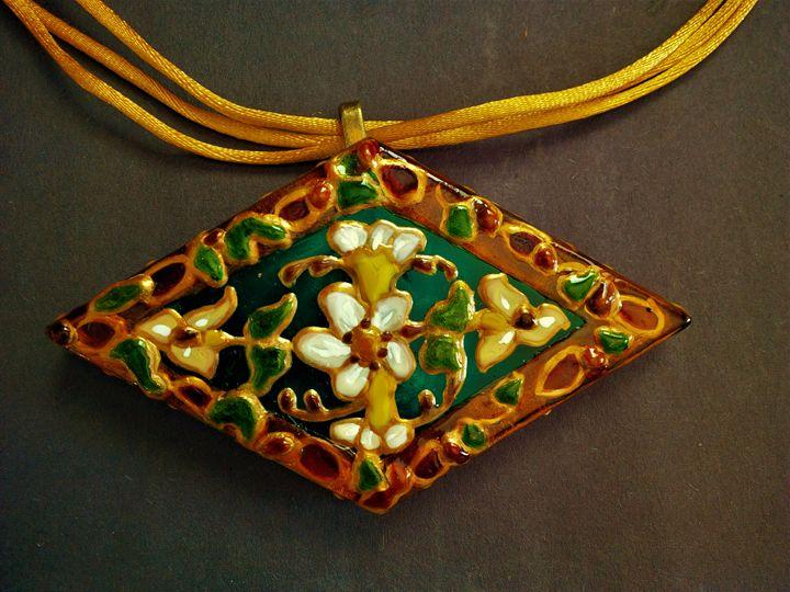 glass reversible pendant cord neckla - indianArtOnCanvas