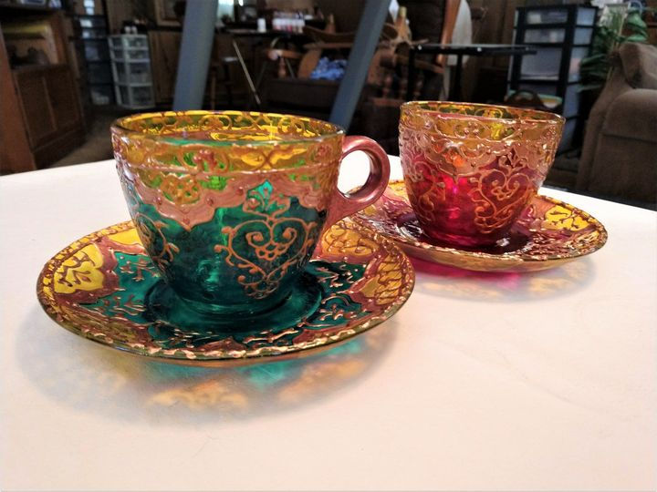set of 6 hand painted glass teacups - indianArtOnCanvas