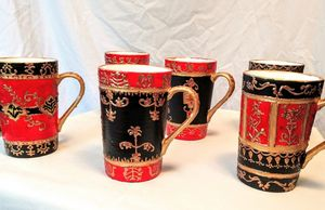 set of 6 hand painted porcelain mugs - indianArtOnCanvas