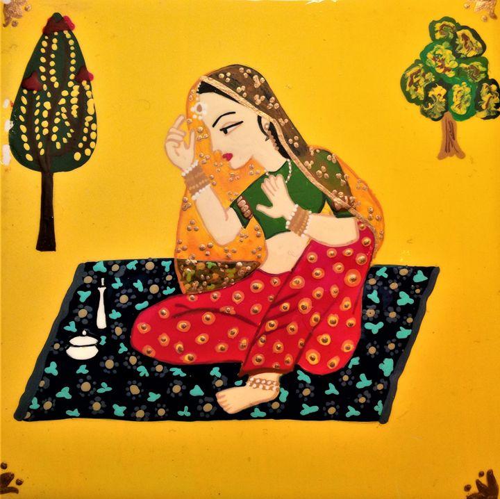Rajasthani woman veiling her face - indianArtOnCanvas