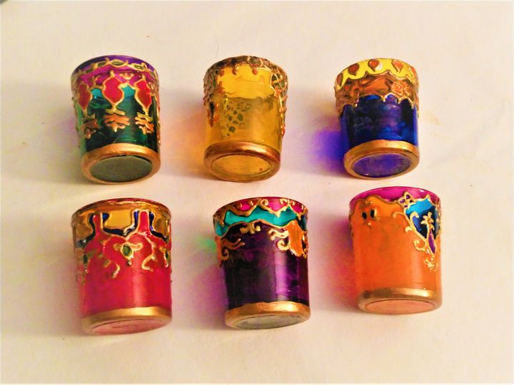 painted shot glasses / candleholders - indianArtOnCanvas