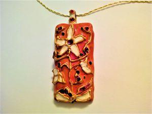 Blossoms in orange pendant - indianArtOnCanvas