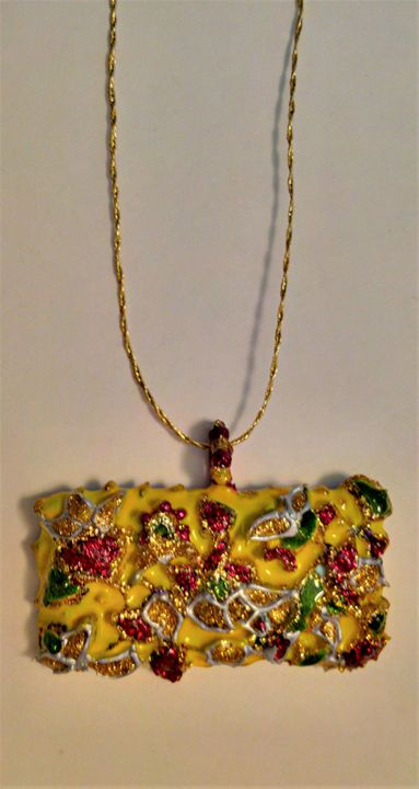 yellow spring  painted glass pendant - indianArtOnCanvas