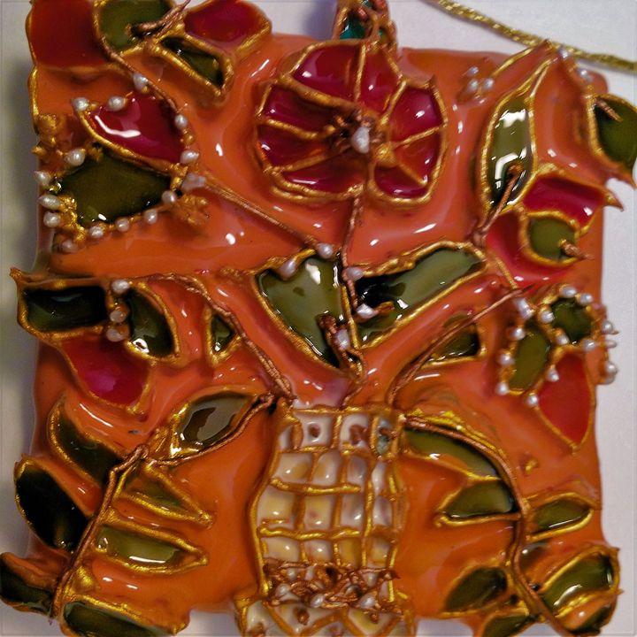 Flowers in vase  painted pendant - indianArtOnCanvas