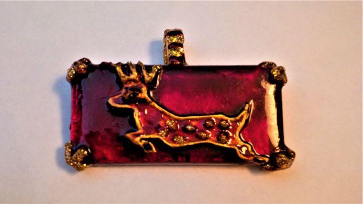 Golden deer pendant - indianArtOnCanvas