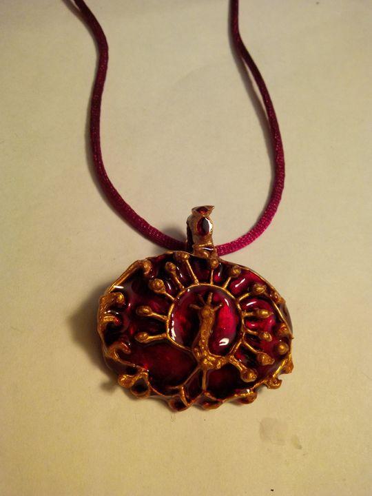 peacock - Indian painted pendant - indianArtOnCanvas