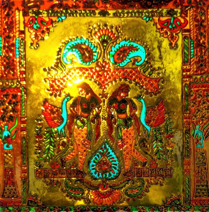 Indian glass painting RajasthaniRani - indianArtOnCanvas