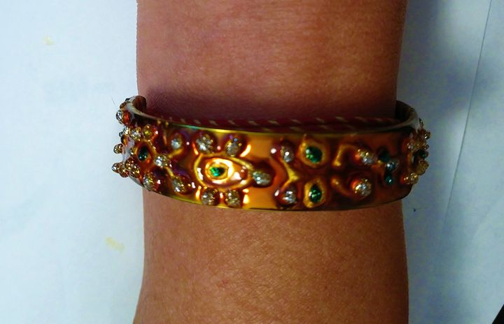 hand painted steel bangles - indianArtOnCanvas