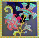 painted indigo ceramic tile