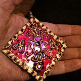 Handpainted reversibl mirror pendant