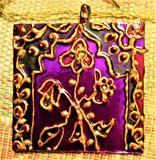 hand painted mirror pendant