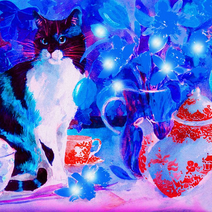 Cat with flower spirits - Helen A. Lisher