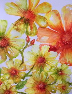 Watercolour wild  red flowers yellow