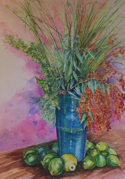 Blue vase floral - EMPOWER ART