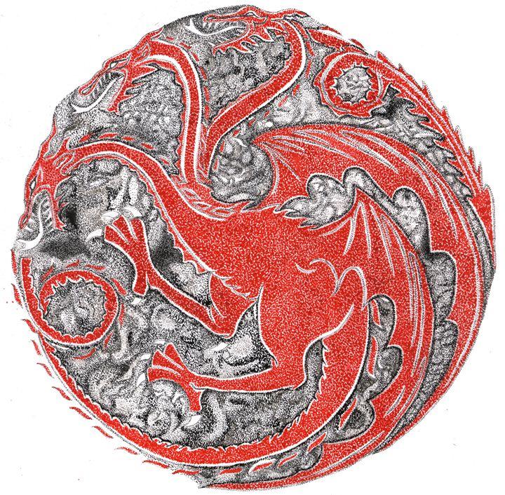 Targaryen Emblem  - Stippling - De Outrora