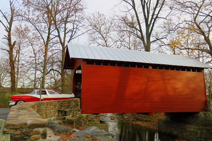 Classic Car and Covered Bridge - Creative Artistry by Janice Solomon