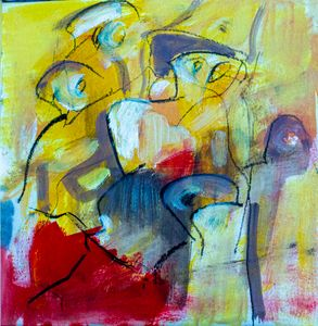Oil on paper 2 red and Yellow
