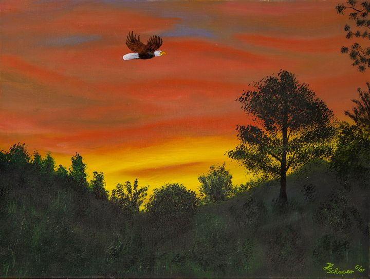 Sunrise with Eagle - Schaper's Gallery